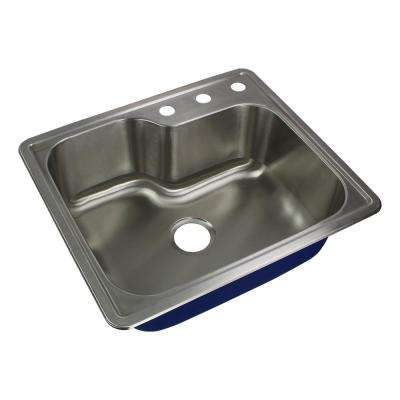 Meridian Drop-In Stainless Steel 25 in. 3-Hole Single Bowl Kitchen Sink in Brushed Stainless Steel