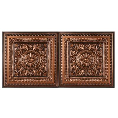 Marseille 2 ft. x 4 ft. Lay-in or Glue-up Border Ceiling Tile in Antique Copper (80 sq. ft. / case)