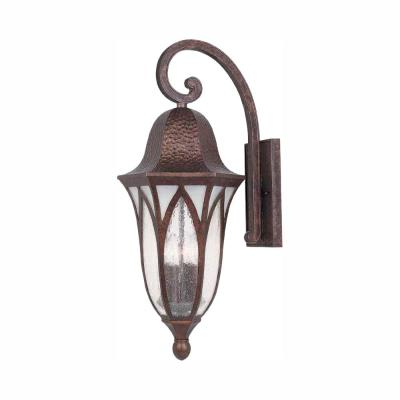 11 in. Burnished Antique Copper Outdoor Wall Lantern Sconce with Clear Seedy Glass