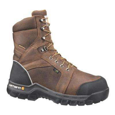 Rugged Flex Men's 14M Brown Leather Waterproof Internal Met Guard Comp Safety Toe 8-inch lace-up Work Boot CMF8720