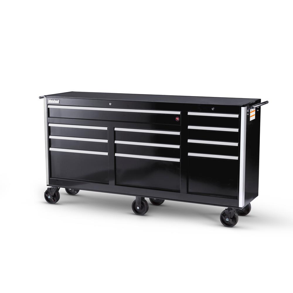 International Tech Series 73 inch 11-Drawer Roller Cabinet Tool Chest Black by International