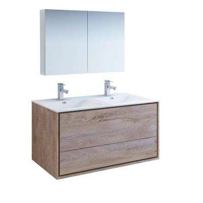 Catania 48 in. Double Wall Hung Vanity in Rustic Natural Wood with Vanity Top in White with White Basin,Medicine Cabinet