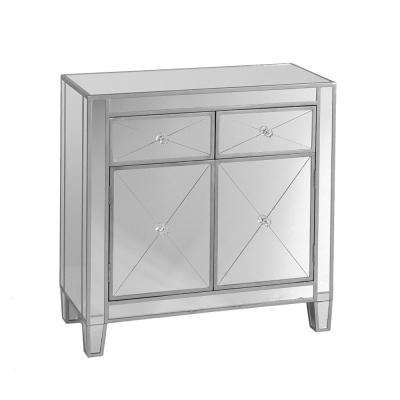 Silver and Clear Mirrored Storage Cabinet with 2-Drawers and 2-Doors