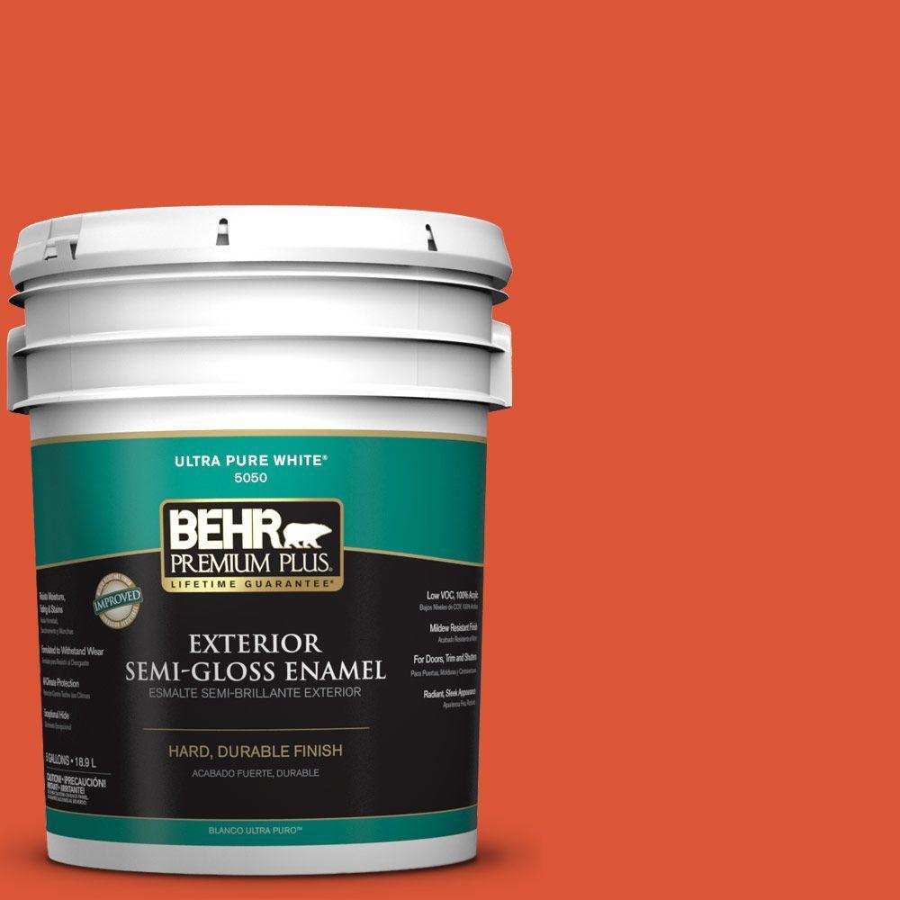 BEHR Premium Plus 5-gal. #P190-7 Inferno Semi-Gloss Enamel Exterior Paint
