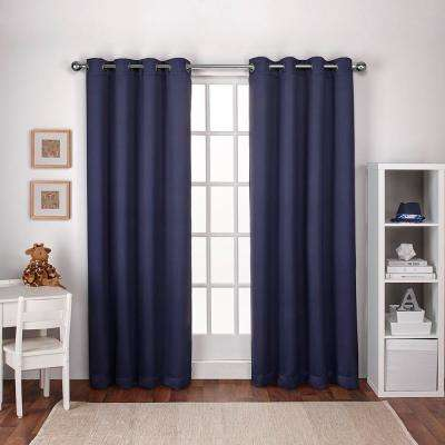 Textured Woven 52 in. W x 96 in. L Woven Blackout Grommet Top Curtain Panel in Navy Blue (2 Panels)