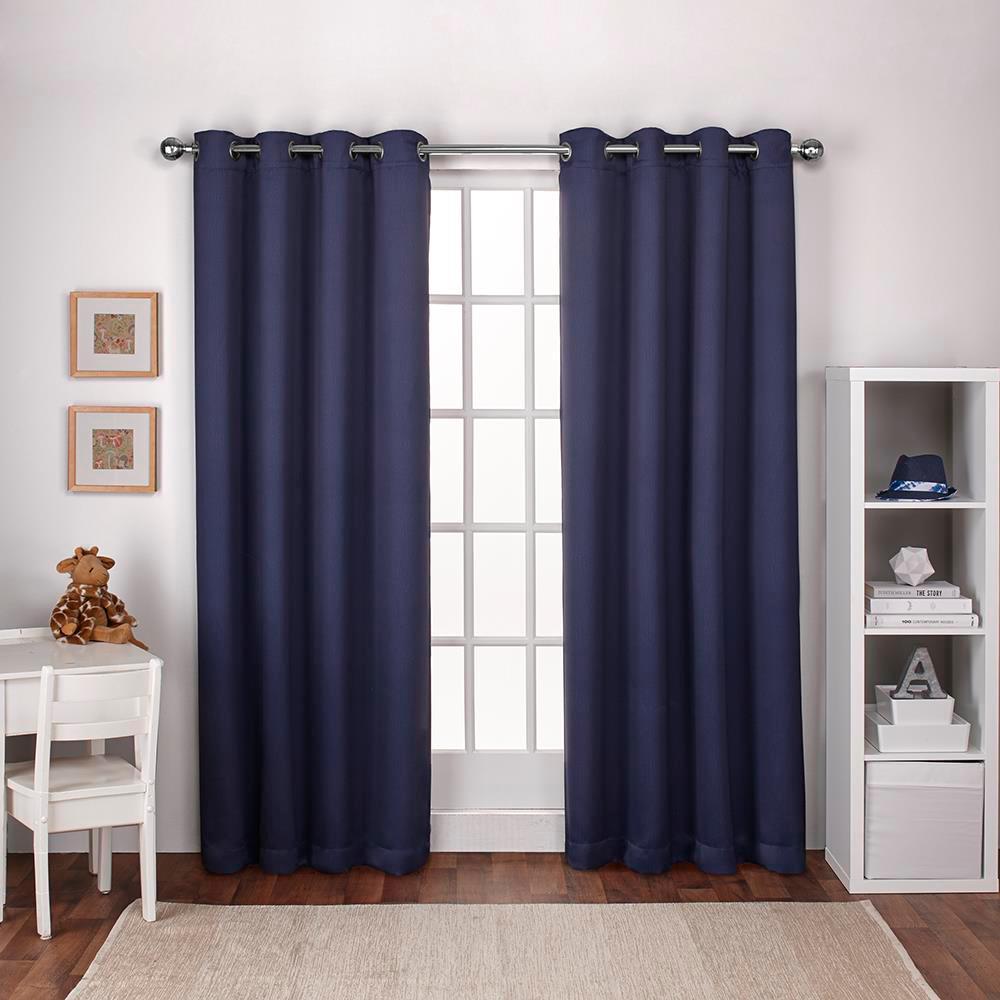 Textured Woven Navy Blue Blackout Grommet Top Window Curtain