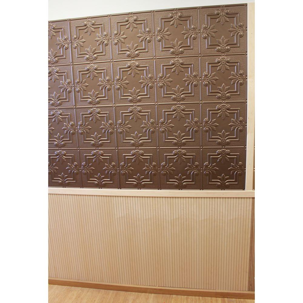 GlobalSpecialtyProducts Global Specialty Products Dimensions Faux 2 ft. x 4 ft. Tin Style Ceiling and Wall Tiles in Bronze