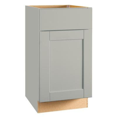 Shaker Assembled 18x34.5x24 in. Base Kitchen Cabinet with Ball-Bearing Drawer Glides in Dove Gray