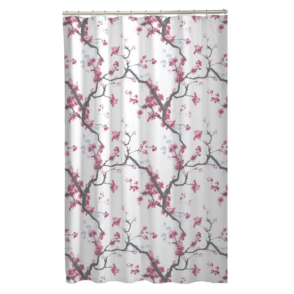 Maytex 70 in. x 72 in. Cherrywood Cherry Blossom Fabric Shower Curtain