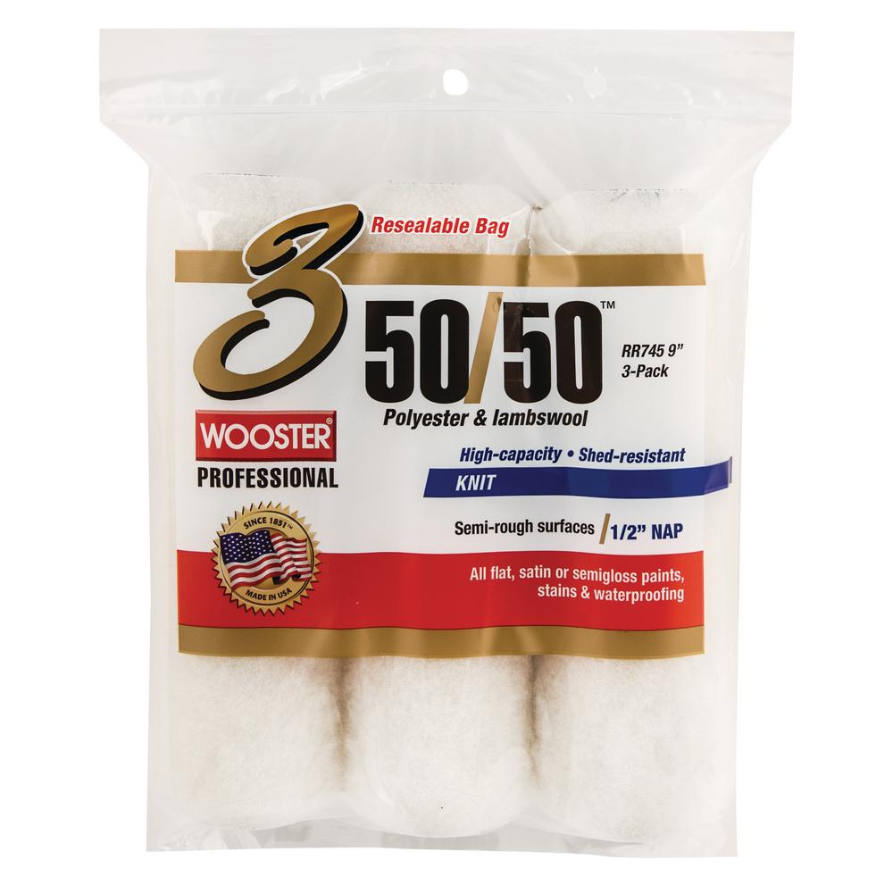 Wooster 9 in. x 1/2 in. 50/50 Lambswool/Polyester Knit Roller Cover (3-Pack)