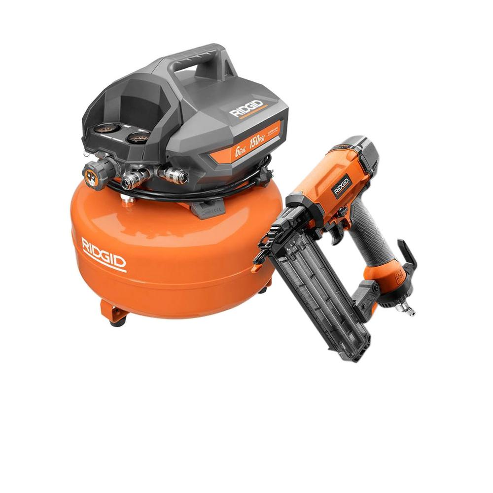 RIDGID 6 Gal. Portable Electric Pancake Compressor and 18-Gauge 2-1/8 in. Brad Nailer