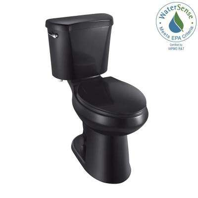 2-piece 1.28 GPF High Efficiency Single Flush Elongated Toilet in Black
