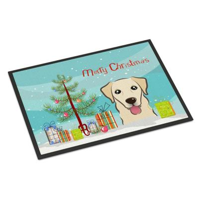 18 in. x 27 in. Indoor/Outdoor Christmas Tree and Golden Retriever Door Mat