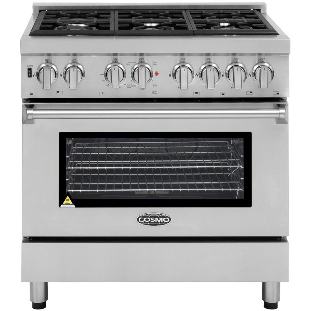 Cosmo Commercial Style 36 In 4 5 Cu Ft Single Oven Dual Fuel