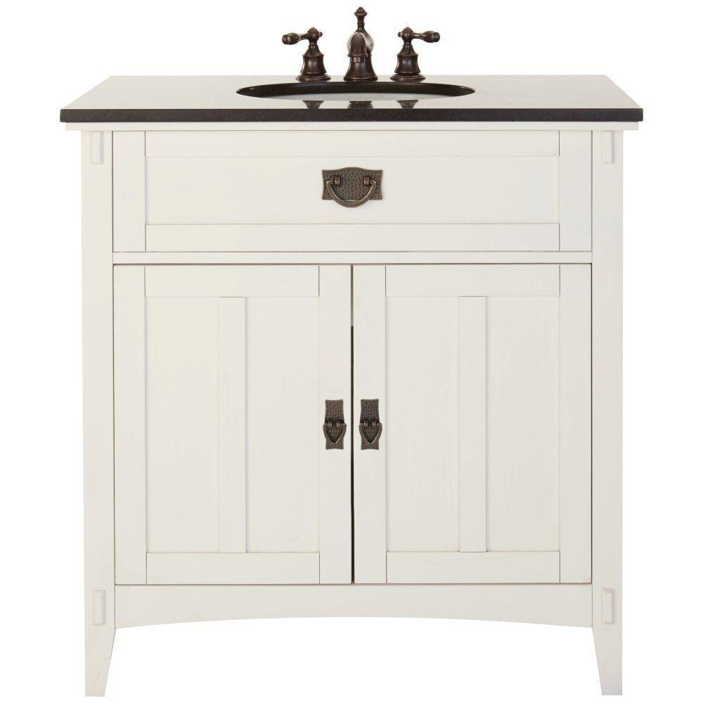 Artisan 33 in. W Bath Vanity in White with Natural Marble Vanity Top in Black
