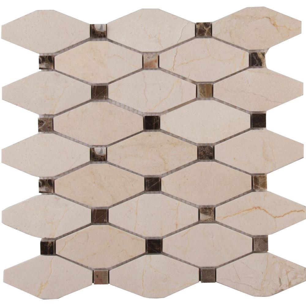 Valencia Blend Elongated Octagon 12 in. x 12 in. x 10mm