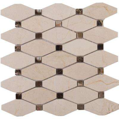 Valencia Blend Elongated Octagon 12 in. x 12 in. x 10mm Polished Marble Mesh-Mounted Mosaic Tile (10 sq. ft. / case)