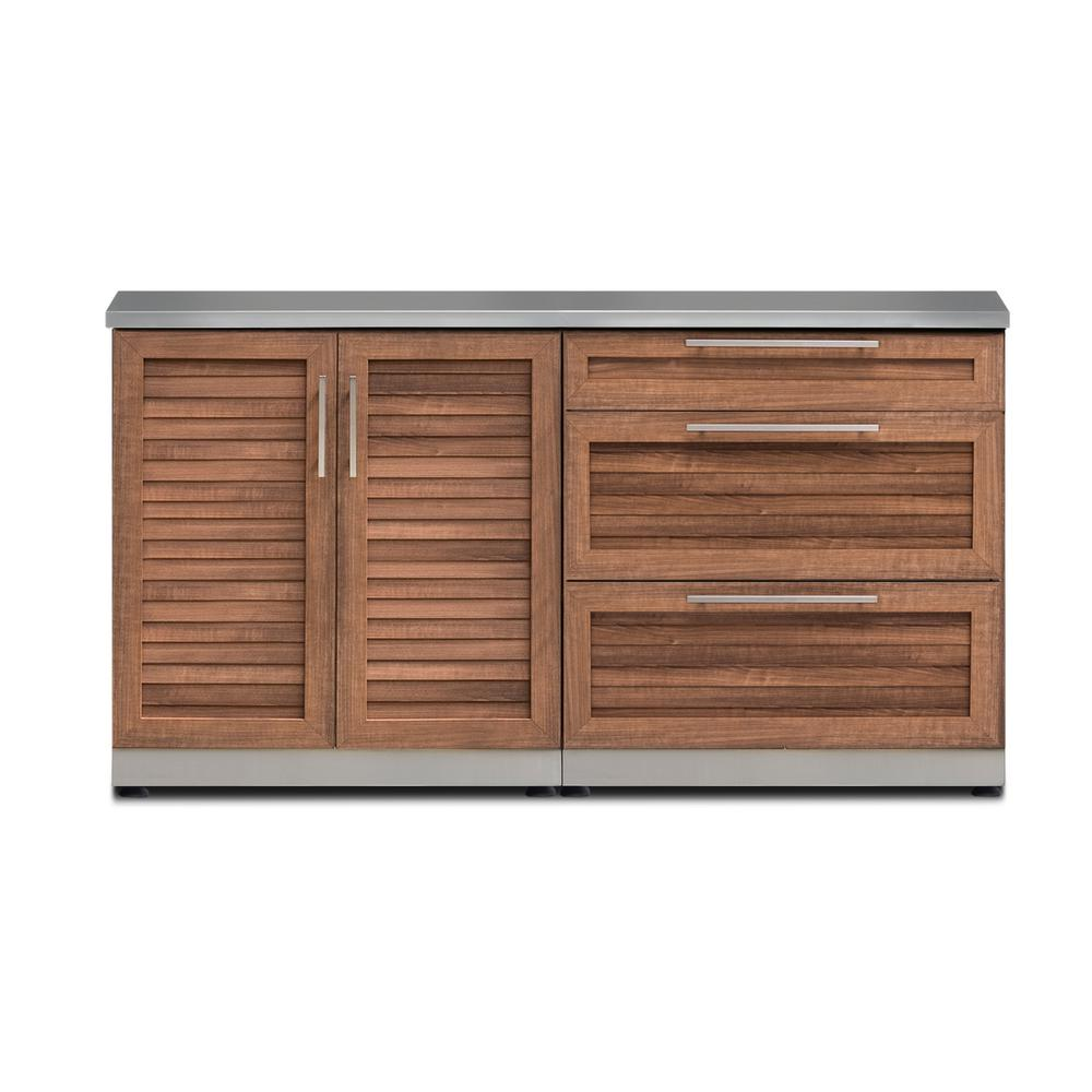 NewAge Products Outdoor Kitchen Grove 3-Piece 64 in. W x 36.5 in. H x 24  in. D Cabinet Set with Countertop