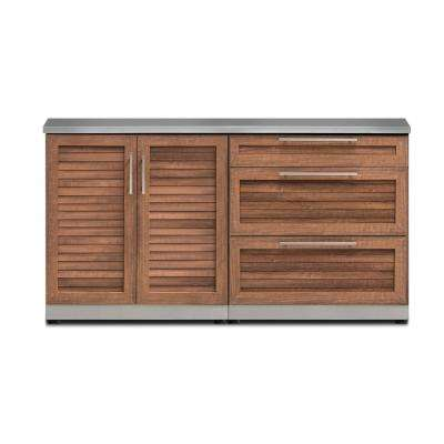Natural Cherry 3-Piece 64 in. W x 36.5 in. H x 24 in. D Outdoor Kitchen Cabinet Set with Countertop