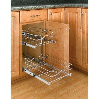 19 in. H x 11.75 in. W x 22 in. D Base Cabinet Pull-Out Chrome 2-Tier Wire Basket