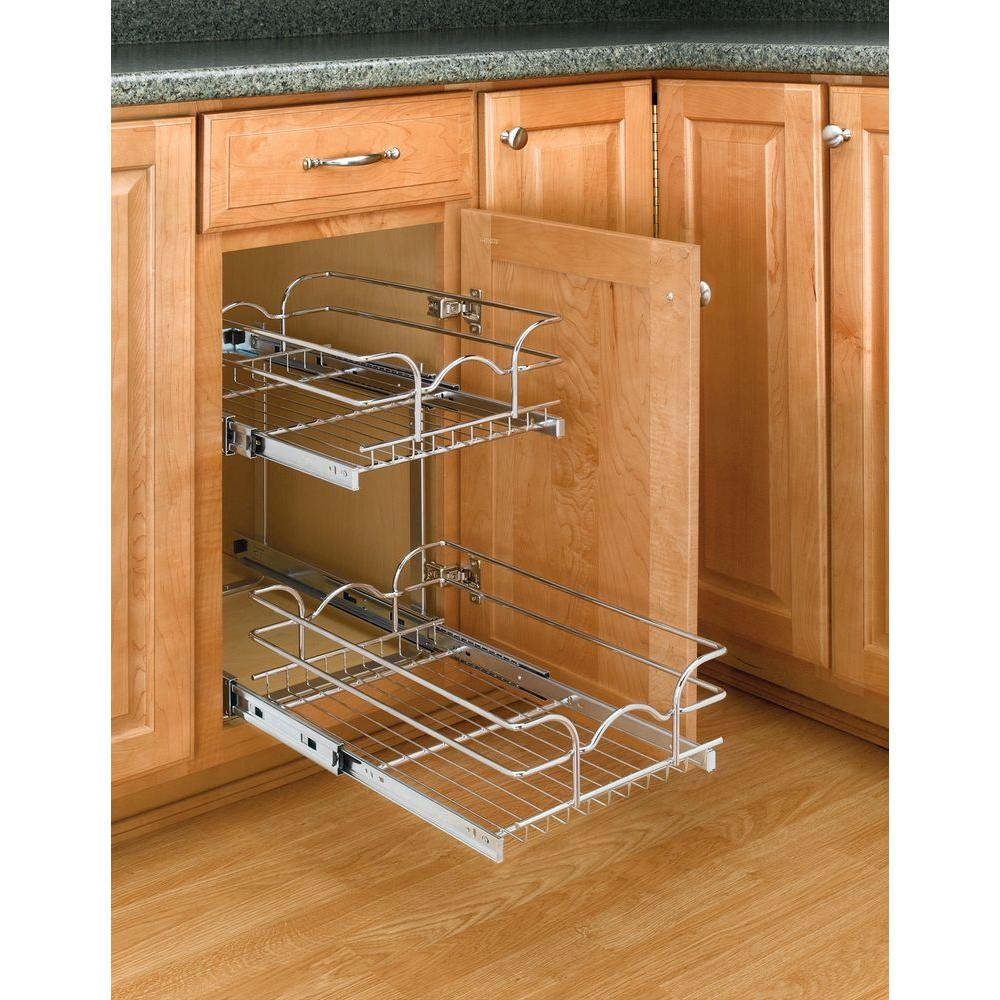 Kitchen Base Cabinet Pull Outs Part - 17: Rev-A-Shelf 19 In. H X 11.75 In. W X 18 In. D Base Cabinet Pull-Out Chrome  2-Tier Wire Basket-5WB2-1218-CR - The Home Depot