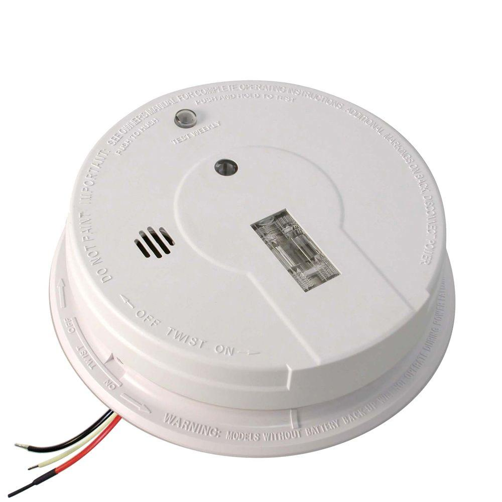 Kidde FireX Hardwire Smoke Detector with 9-Volt Battery Backup and Safety Light
