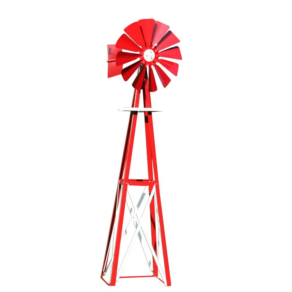 99 in. Small Red and White Powder Coated Backyard Windmill