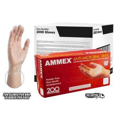 Anti Microbial Clear Vinyl Industrial Powder-Free Disposable Gloves (200-Count) - Medium