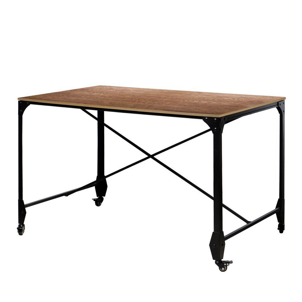 49 in. Rectangular Brown/Bronze Writing Desk