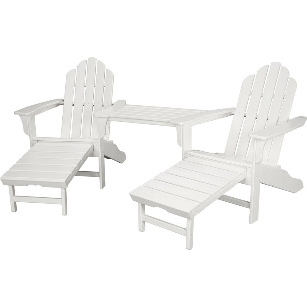 Rio White 3-Piece All-Weather Plastic Patio Lounge Adirondack Chair Set with