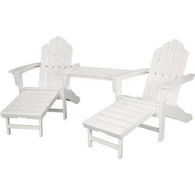 Rio White 3 Piece All Weather Plastic Patio Lounge Adirondack Chair Set  With Ottoman