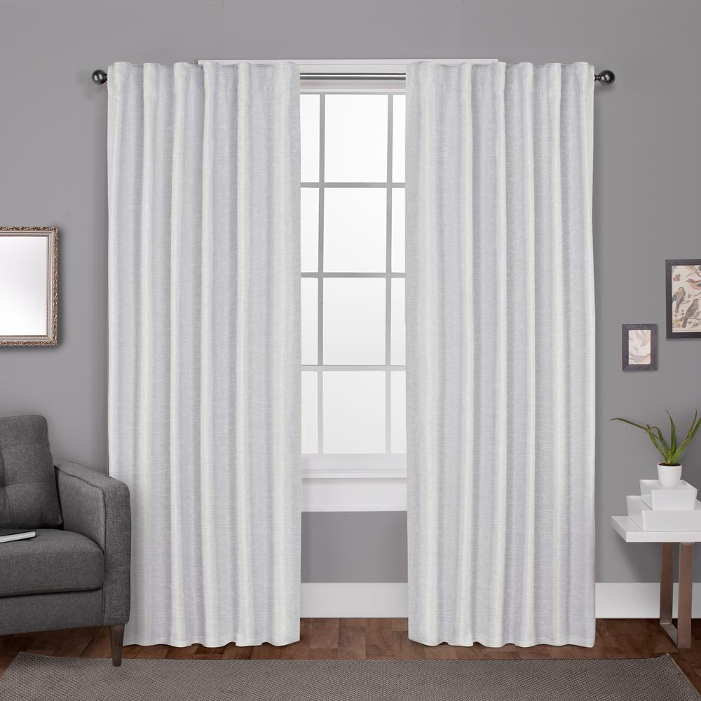 Zeus Winter White Solid Textured Jacquard Blackout Back Tab Top Window Curtain
