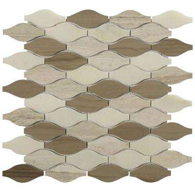 Micro Ivory Ash Glass and Marble Floor and Wall Tile - 3 in. x 6 in. Tile Sample