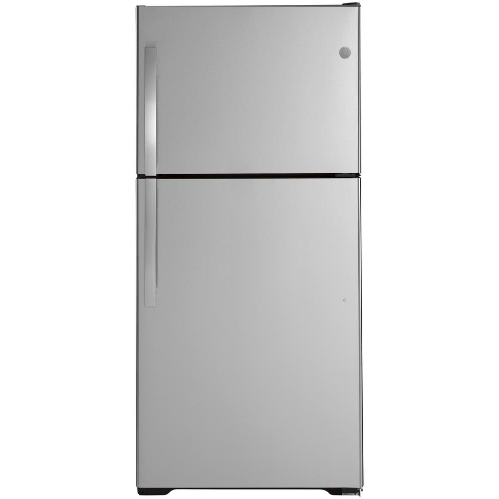 Ge 19 2 Cu Ft Top Freezer Refrigerator In Stainless Steel Energy Star Gie19jsnrss The Home Depot