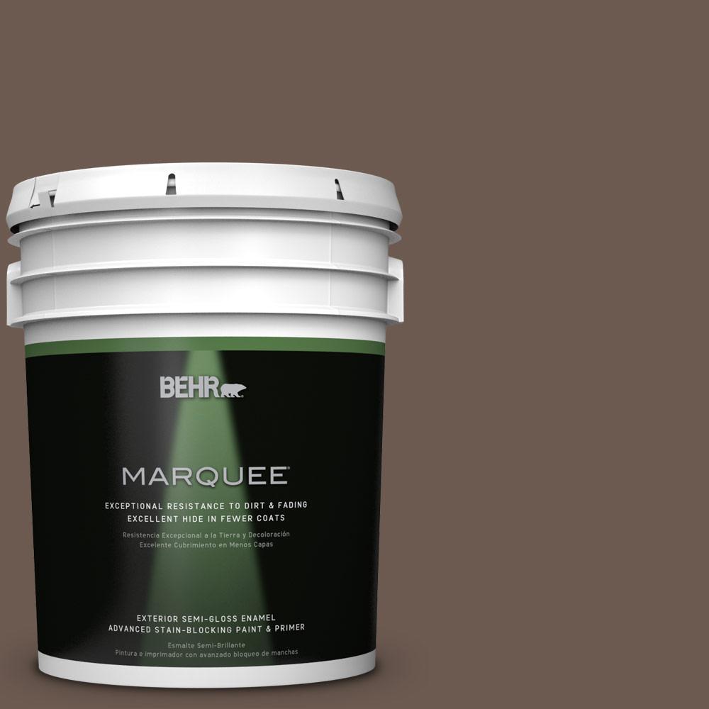 BEHR MARQUEE 5-gal. #N180-7 Oiled Teak Semi-Gloss Enamel Exterior Paint