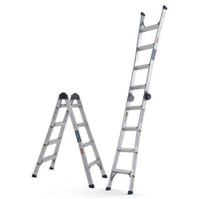 8 ft. 11 in. Aluminum Multi-Position Ladder 2-in-1 Ladder Step and Extension with 300 lbs. Capacity ANSI Type 1A