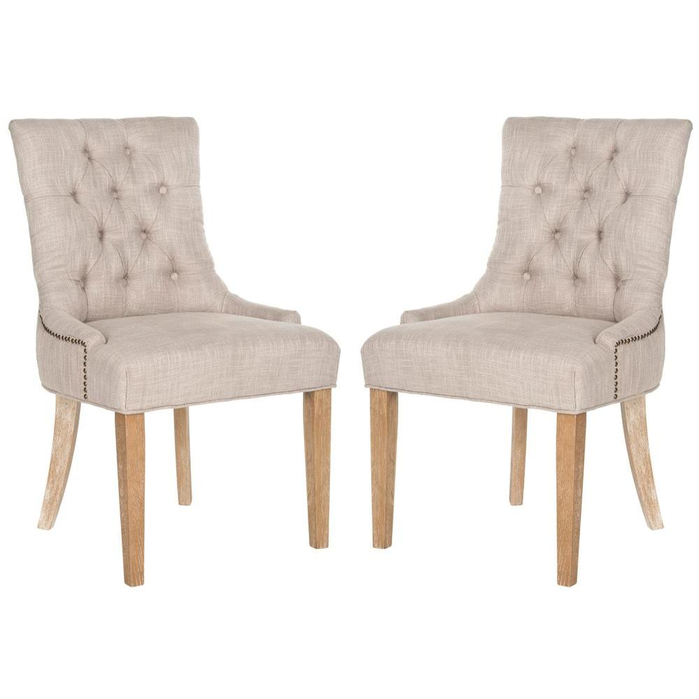 Abby Gray/White Wash Polyester Blend Side Chair (Set of 2)