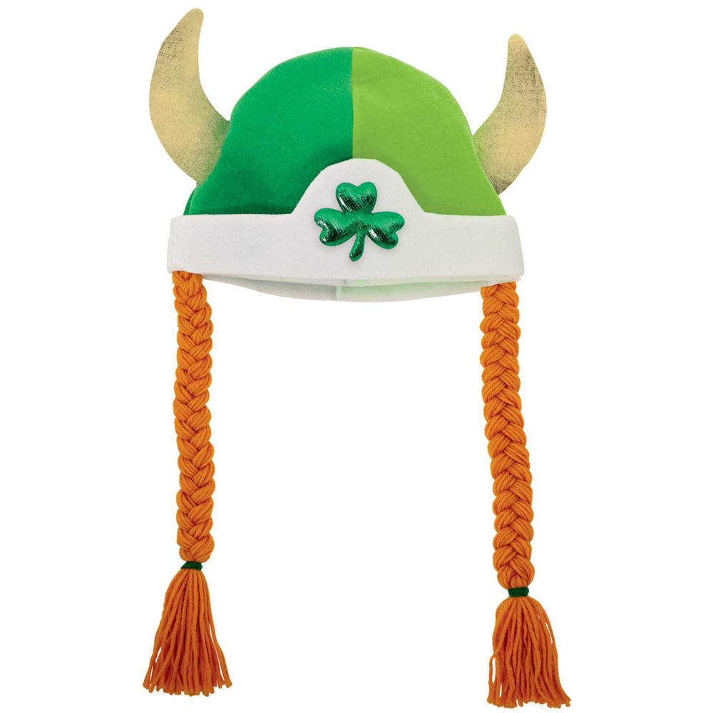 Polyester and Foam Shamrock St. Patrick's Day Viking Hat with Braids