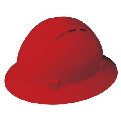 Americana Vent 4 Point Nylon Suspension Mega Ratchet Full Brim Hard Hat in Red