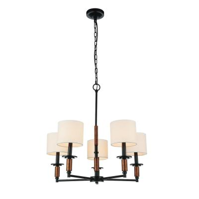 Sia 5-Light Black Chandelier with White Shade