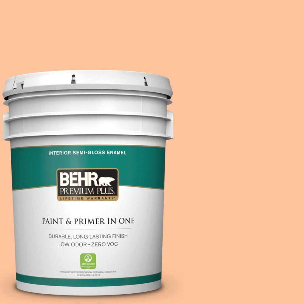 5 gal. #260B-4 Orange Sherbet Semi-Gloss Enamel Zero VOC Interior Paint