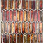 Fargin Sunset Elongated Hexagon 12 in. x 10 in. x 7mm Polished Glass Mosaic Tile (0.82 sq. ft.)