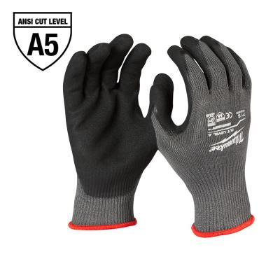 Large Gray Nitrile Level 5 Cut Resistant Dipped Work Gloves