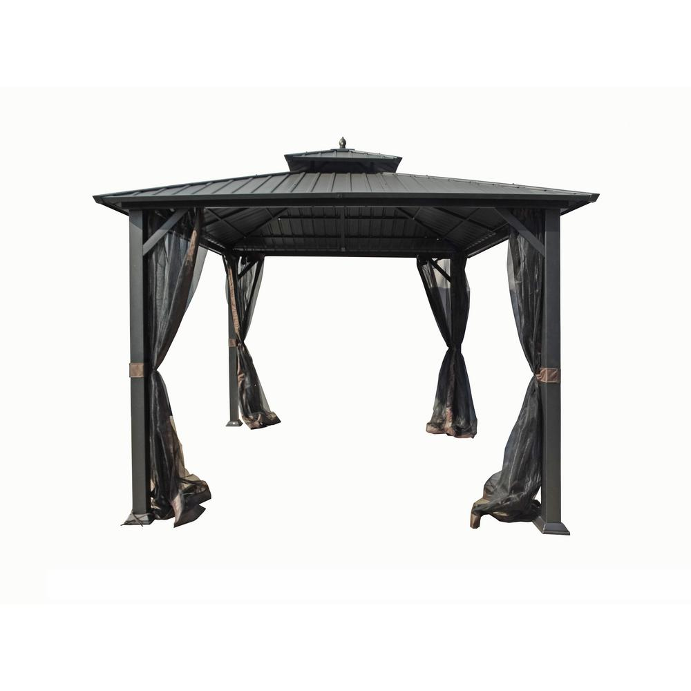 Hampton Bay 10 ft. x 10 ft. Holden Outdoor Patio Black Hard Top Galvanized Steel Gazebo