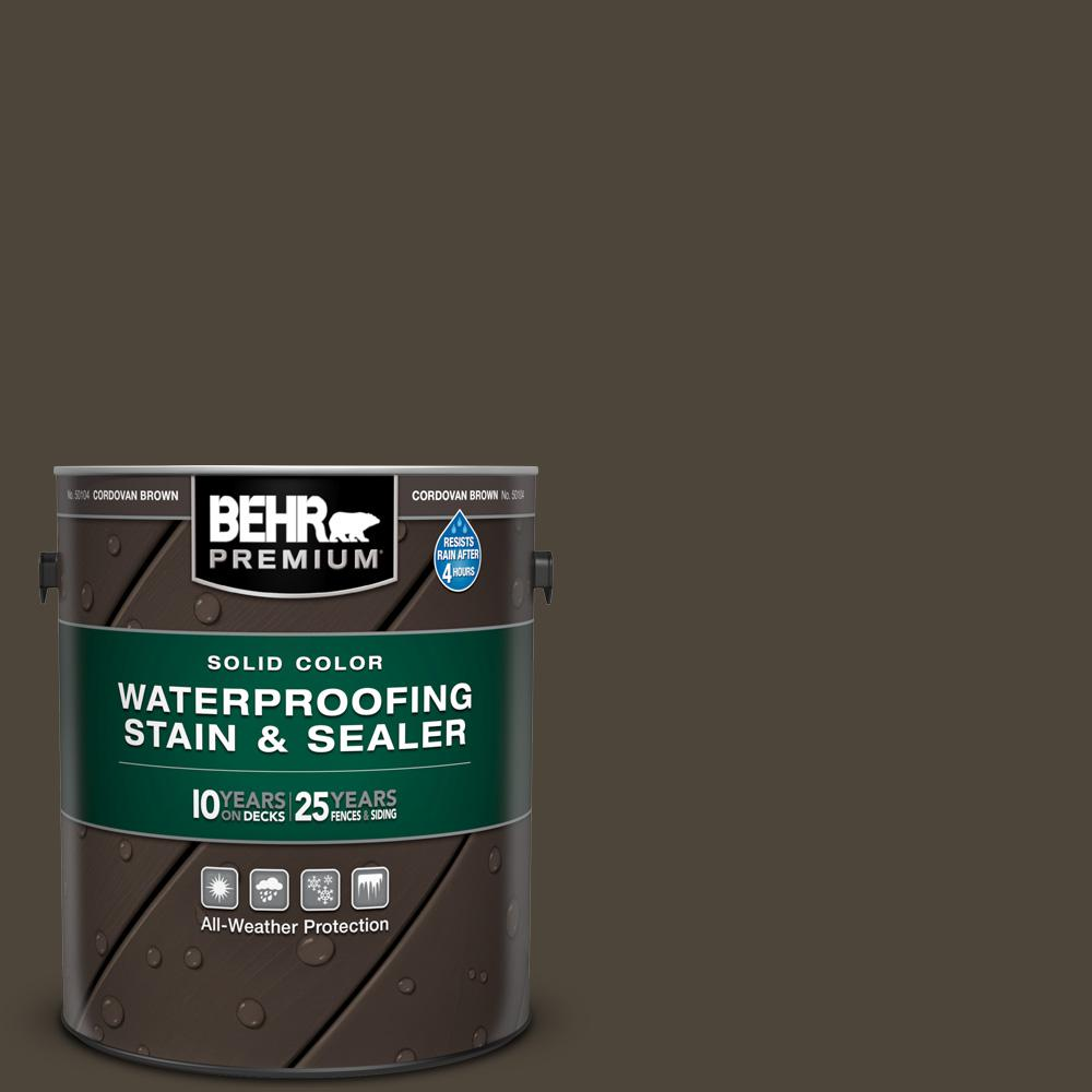 BEHR Premium 1 gal. #SC-104 Cordovan Brown Solid Color Waterproofing Exterior Wood Stain and Sealer
