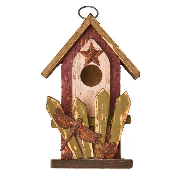 9 In Wood Birdhouse With Railing Decoration 1133 The Home Depot