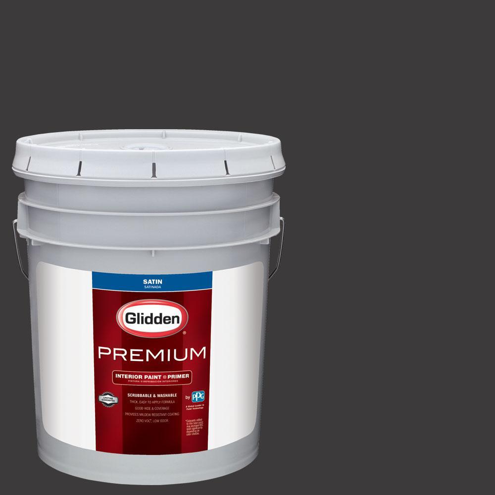 Glidden Premium 5 gal. #NHL-007G Chicago Blackhawks Black Satin Interior Paint with Primer