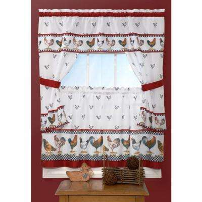 Sheer Top of the Morning 36 in. L Polyester Window Curtain Set in Black and White