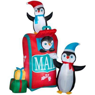 6.5' Airblown Mailbox w/ Penguins Scene Christmas Inflatable
