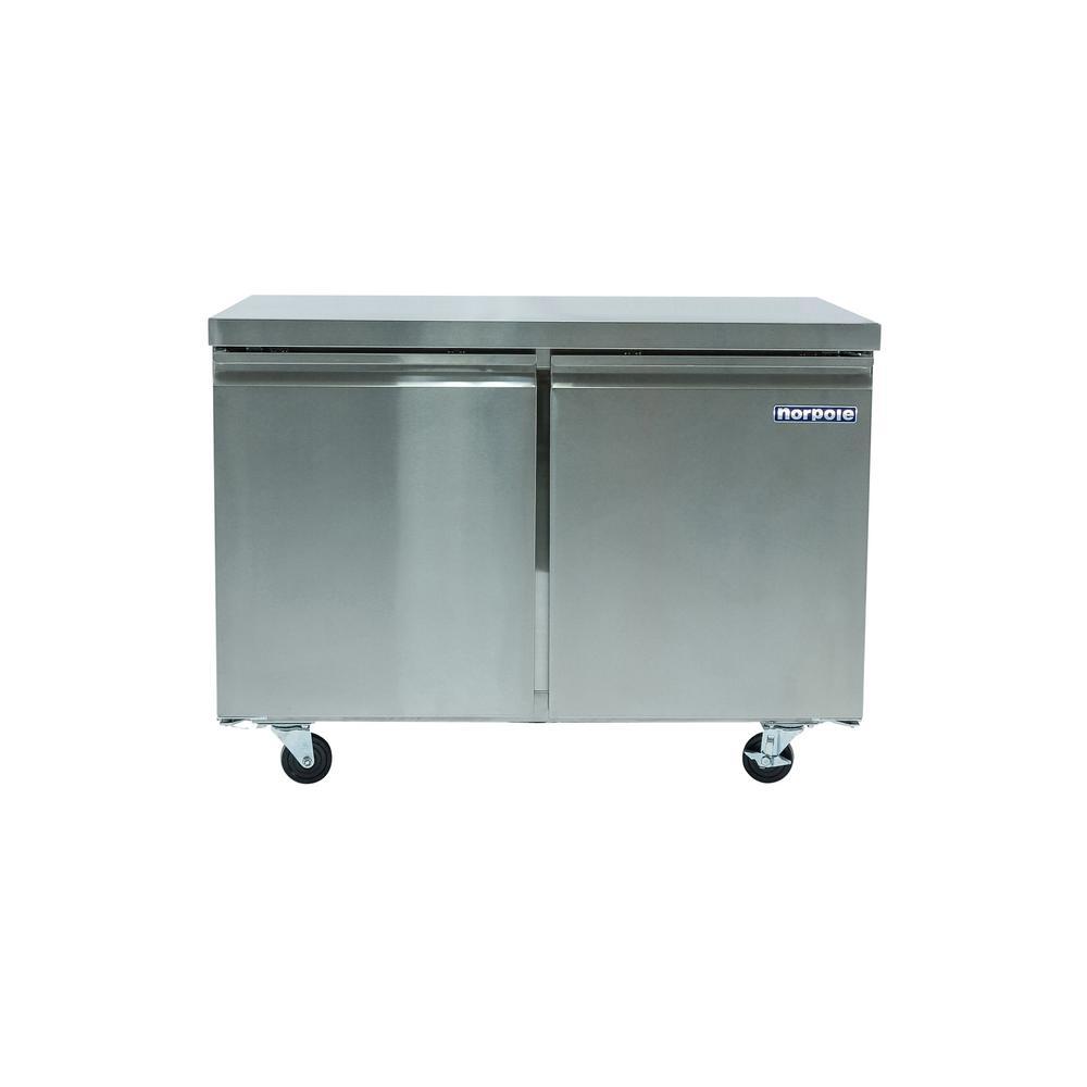 2-Door 12 cu. ft. Commercial Under Counter Upright Freezer in Stainless Steel